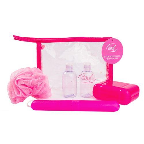 Kit Viagem Dauf Rosa Com Porta Escova + Porta Sabonete + Bucha + Recipiente  Para Shampoo + Recipiente Para Condicionador