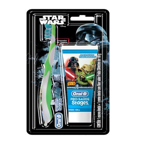 Escova Dental Oral B Stages + Creme Denal Oral B Stages Sabor Frutas Silvestres 100g Star Wars