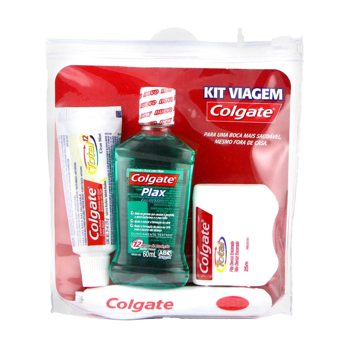 Kit Viagem Colgate Com Escova Dental Portable Fita Dental Creme