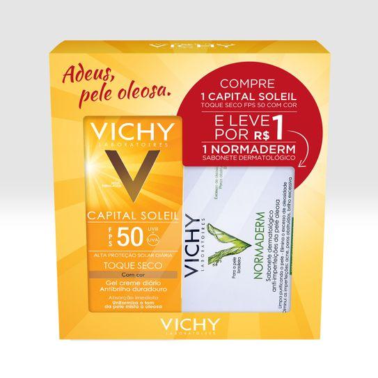 capital-soleil-vichy-fps50-toque-seco-com-cor-gel-creme-50g-mais-normaderm-vichy-sabonete-dermatologico-80g-preco-especial-principal
