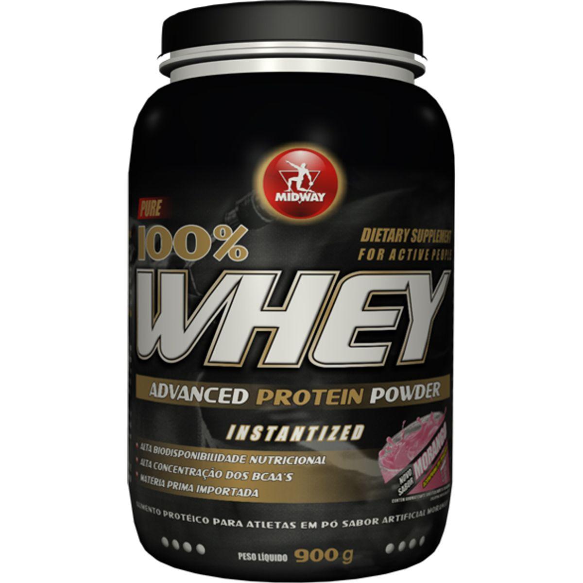 ed70992b1 Whey Protein Advanced Midway Morango 900g - Farmacias Pague Menos
