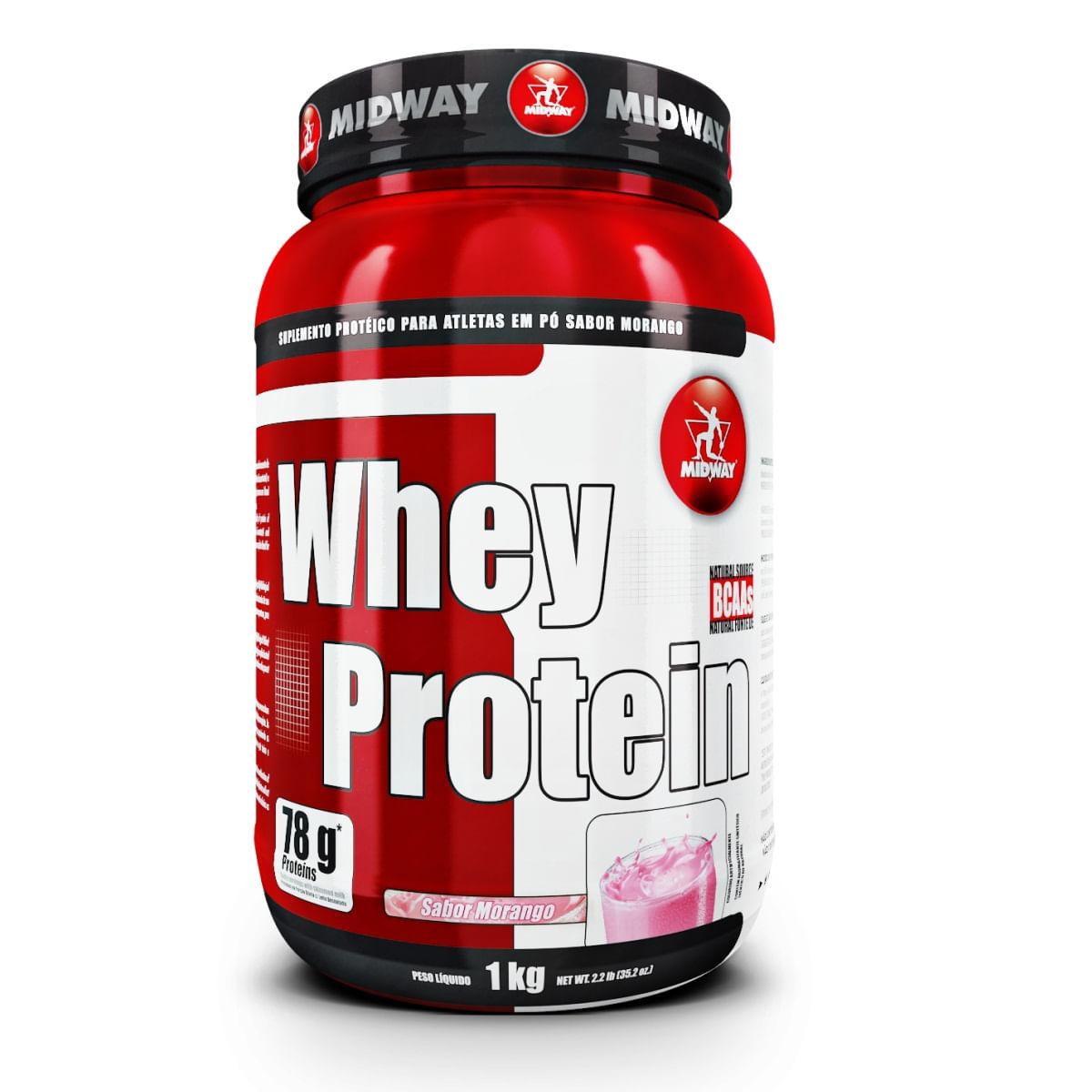 aed351a85 Whey Protein Midway Morango 1kg - Farmacias Pague Menos