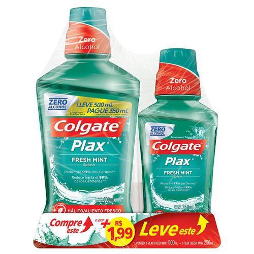 Enxaguante Bucal Colgate Plax Fresh Mint 500ml Promo + R$1,99 Leve 1 Enxaguante 250ml
