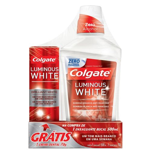 Antisséptico Bucal Colgate Luminous White 500ml Grátis Creme Dental Colgate Luminous White 70g