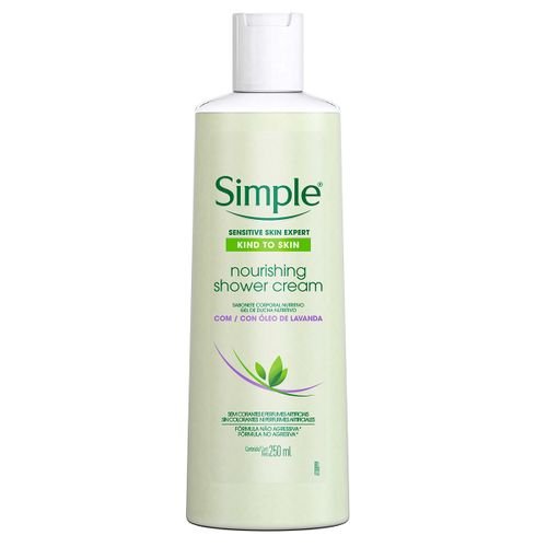 Sabonete Líquido Corporal Simple Nourishing Shower Cream Com Óleo De Lavanda 250ml