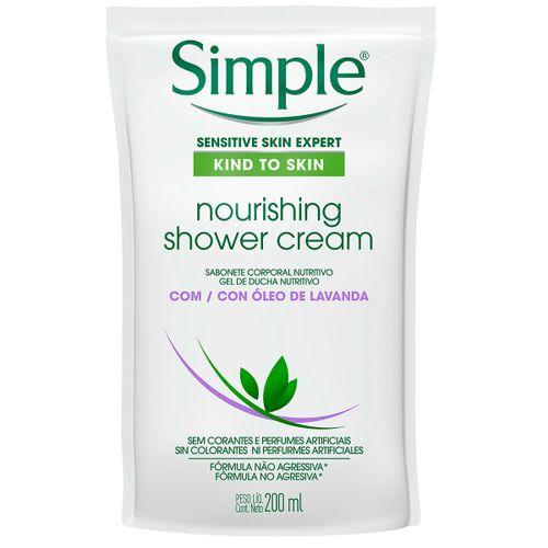 Sabonete Líquido Corporal Simple Nourishing Shower Cream Com Óleo De Lavanda Refil 200ml