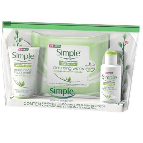 Kit Simple Com Sabonete Líquido Moisturising 50ml + Lenços Demaquilantes Cleasing Wipes Com 7 Unidades + Hidratante Facial 50ml Grátis Necessaire