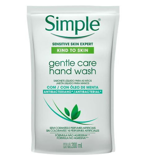 Sabonete Líquido Para Mãos Simple Gentle Care Hand Wash Óleo De Menta Refil 200ml