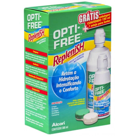Opti Free Replenish 300ml Grátis Opti Free Replenish 120ml + Estojo Para Lentes
