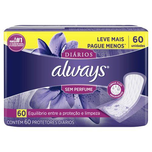 Protetor Diário Always Sem Perfume Com 60 Unidades