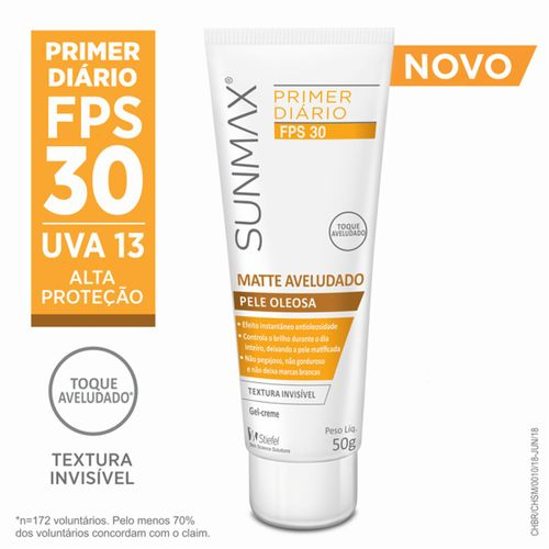 Sunmax Matte Aveludado Primer Diário Pele Oleosa Fps30 50g