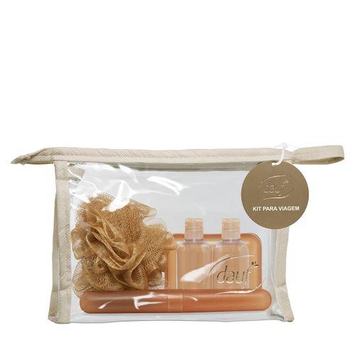 Kit Viagem Dauf Dourado Com Porta Escova+porta Sabonete+bucha+recipiente Para Shampoo+recipiente Para Condicionador