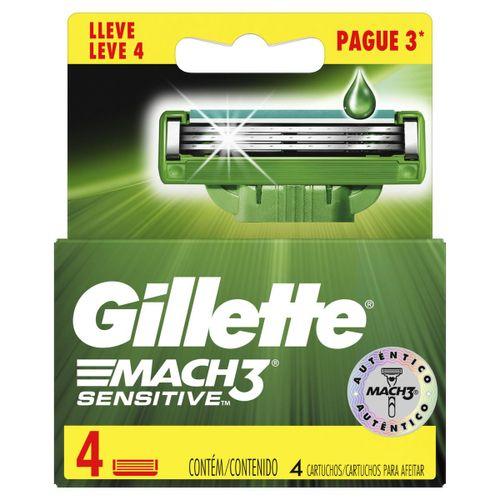 Carga Gillette  Mach3 Sensitive Leve 4 Unidades Pague 3