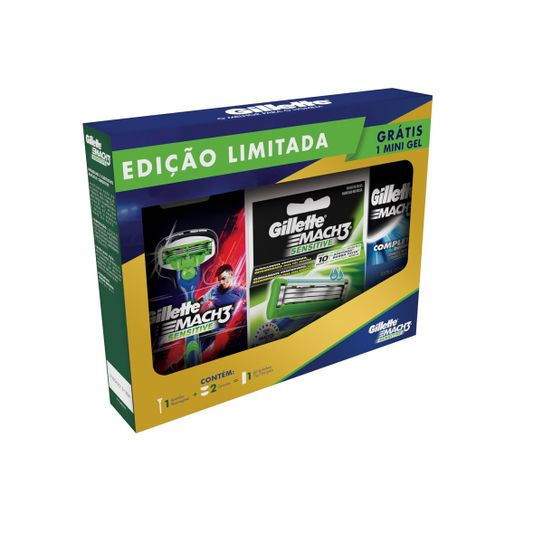 kit-aparelho-de-barbear-gillette-mach3-sensitive-com-2-cargas-mach3-sensitive-gratis-gel-mach3-complete-defense-71g-principal