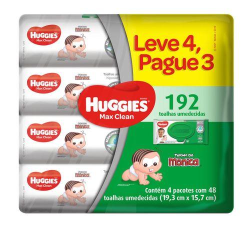 Lenços Umedecidos Huggies Max Clean Leve 4 Pague 3 - 192 Unidades