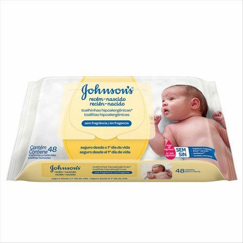 Lenços Umedecidos Johnsons Baby Recém-Nascido Sem Fragrância 48 Unidades